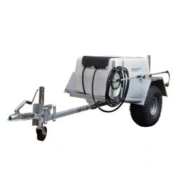 "300L Site Tow Trailer Mounted Water Bowser - 1"" Pump - 120L/m - Single Axle - Blue Tank"
